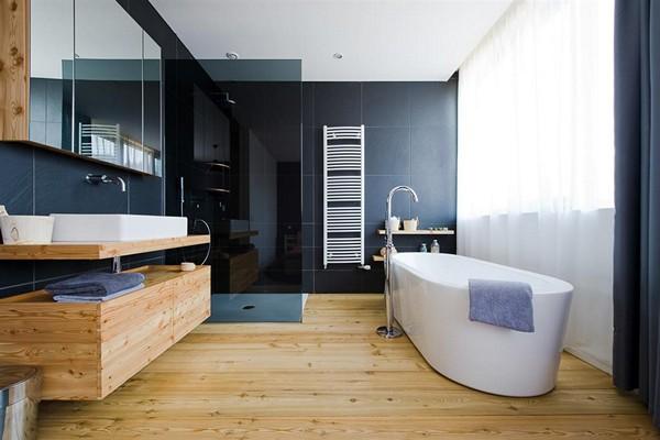 Fonkelnieuw Houten vloer in de badkamer, houten vloeren in de badkamer BD-18