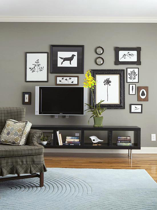 Living Room In Gray Color, Gray Wall Living Room Design