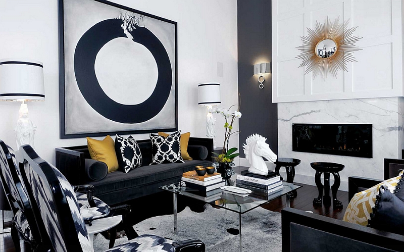 Monochrome grandeur of a black and white living room ...