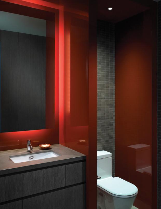 Salle de bain aux couleurs rouges | balancedfoodandfuel.org